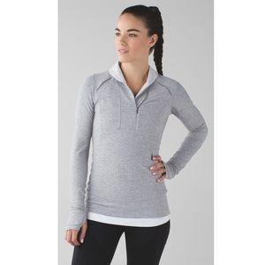 Lululemon Think Fast Pullover. Stripe Grey/White